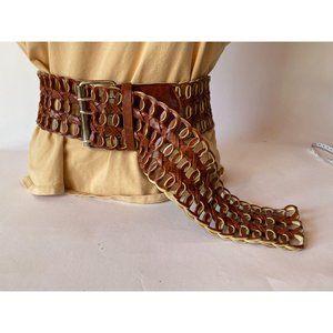 Wide Brown Braided Belt